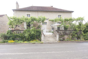 The house with the terrace now draped in grapevines and the front beds starting to develop