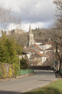 Our beautiful village of Grezels in the spring sunshine and with Chateau de la Coste in the backgrouns