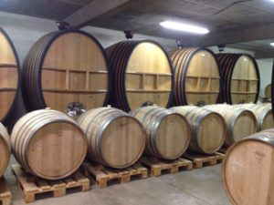 The barrels at Château du Cèdre, Lot - the huge oval barrel is called a 'foudre' (lightning in French)